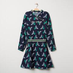 Παιδικά - Φόρεμα με πουλάκια σε όλη την επιφάνεια και γιακά μάο