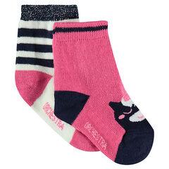 Σετ με 2 ζευγάρια ασορτί κάλτσες με ζακάρ μοτίβο με μονόκερο