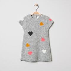 Κοντομάνικο πλεκτό φόρεμα με ζακάρ καρδιές