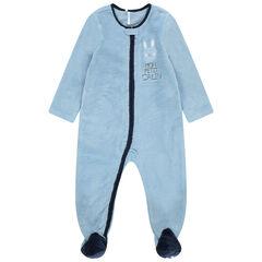 Μπλε φορμάκι-υπνόσακος από sherpa με φερμουάρ και μπάλωμα με καρδούλα