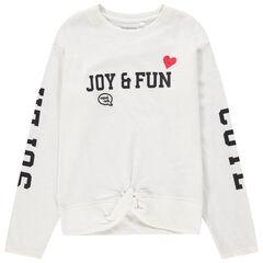 Παιδικά - Μακρυμάνικη μπλούζα με τυπωμένα γράμματα και δέσιμο στη βάση