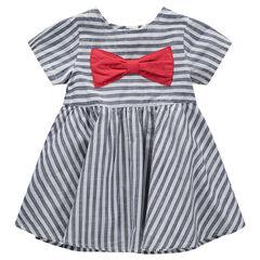 Κοντομάνικο φόρεμα με ρίγες σε αντίθεση και κόκκινο απλικέ φιόγκο