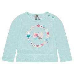 Μακρυμάνικη μπλούζα με βολάν και διακοσμητική στάμπα