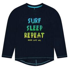 Παιδικά - Μακρυμάνικη μπλούζα ζέρσεϊ με τυπωμένο μήνυμα