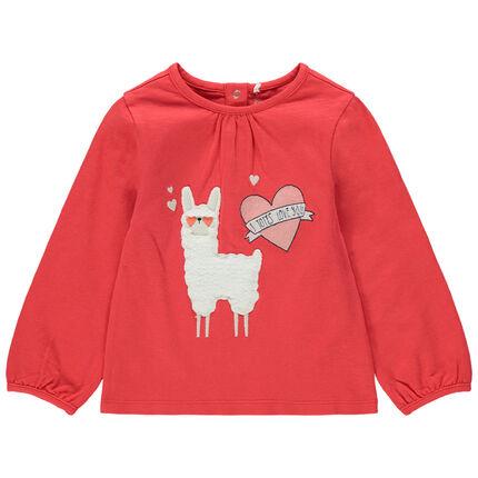 Μακρυμάνικη ζέρσεϊ μπλούζα με λάμα από sherpa