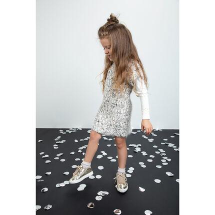 Αμάνικο φόρεμα σε πλέξη ποπ-κορν με χνουδωτή υφή