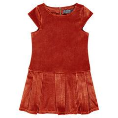 Μονόχρωμο βελούδινο φόρεμα