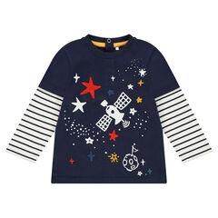 Μακρυμάνικη μπλούζα 2 σε 1 με τυπωμένο διακοσμητικό μοτίβο