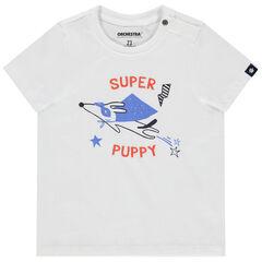 Κοντομάνικη μπλούζα από βιολογικό βαμβάκι με στάμπα σκύλο σούπερ-ήρωα