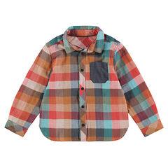 Μακρυμάνικο καρό πουκάμισο με σαμπρέ τσέπη