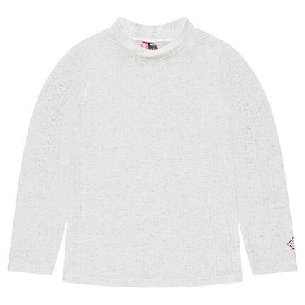 Μπλούζα σε ριμπ ύφανση με χρυσαφί ίνες για μελανζέ όψη και στάμπα