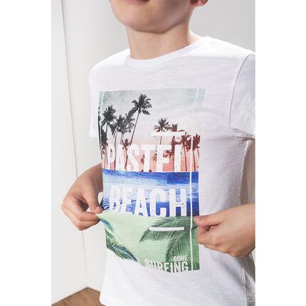 Παιδικά - Kοντομάνικη μπλούζα με τυπωμένo τροπικό τοπίο