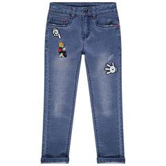 Λεπτό τζιν παντελόνι με badges Mickey Disney