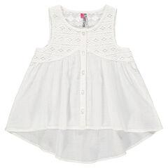 Εβαζέ πουκάμισο από βαμβακερό κρεπόν με κοφτό κέντημα