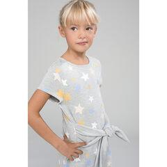 Φόρεμα  molleton με τυπωμένα αστέρια και ζώνη