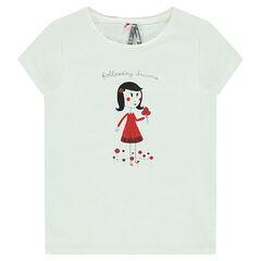 Κοντομάνικη μπλούζα με στάμπα κοριτσάκι