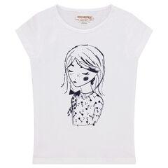 Παιδικά - Κοντομάνικη μπλούζα ζέρσεϊ με στάμπα κούκλα