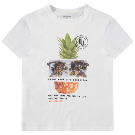 Παιδικά - Κοντομάνικη μπλούζα από ζέρσεϊ με στάμπα ανανά