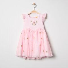 Αμάνικο φόρεμα από τούλι με χρυσαφί πουά μοτίβο