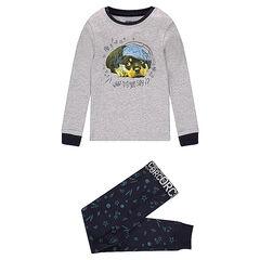 Ζέρσεϊ πιτζάμα με στάμπα σκύλο και παντελόνι με εμπριμέ μοτίβο