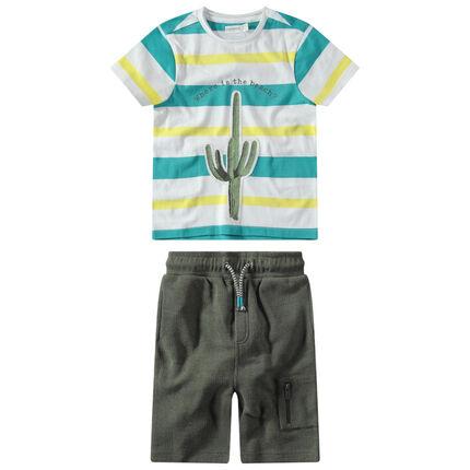 Σύνολο ριγέ μπλούζα με στάμπα κάκτο και φανελένια βερμούδα