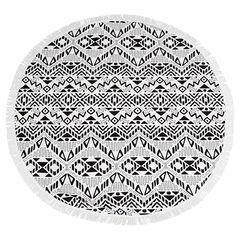 Στρογγυλή πετσέτα με έθνικ μοτίβο και κρόσσια