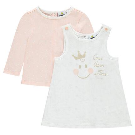 Σετ αμάνικο φόρεμα και κοντομάνικο με τύπωμα ©Smiley Baby