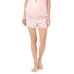 Εμπριμέ σορτς εγκυμοσύνης για το σπίτι με ροζ φλαμίνγκο
