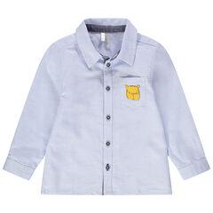 Μακρυμάνικο μπλε πουκάμισο με τσέπη και τύπωμα τίγρη
