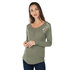 Μακρυμάνικη μπλούζα εγκυμοσύνης και φλοράλ κέντημα