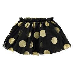 Κοντή φούστα από τούλι σε στιλ μπαλαρίνας με μεγάλα χρυσαφί πουά από παγιέτες