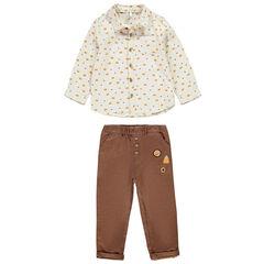 Ensemble avec chemise imprimée et pantalons à patch pour bébé garçon , Orchestra