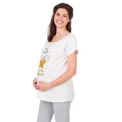 Μπλούζα εγκυμοσύνης για το σπίτι με τυπωμένες φράσεις και αστέρι