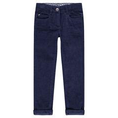 Μονόχρωμο βελούδινο παντελόνι σε ναυτικό μπλε με μόνιμες τσακίσεις