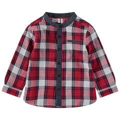 Μακρυμάνικο πουκάμισο με μεγάλα καρό και σαμπρέ λεπτομέρειες