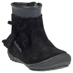 Bottines noires en cuir suédé avec pompons fantaisie et zip