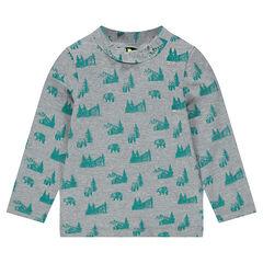 Μπλούζα ζέρσεϊ με διακοσμητικό σχέδιο σε όλη την επφιάνεια