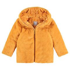 Παλτό με συνθετική γούνα μουσταρδί με επένδυση από sherpa