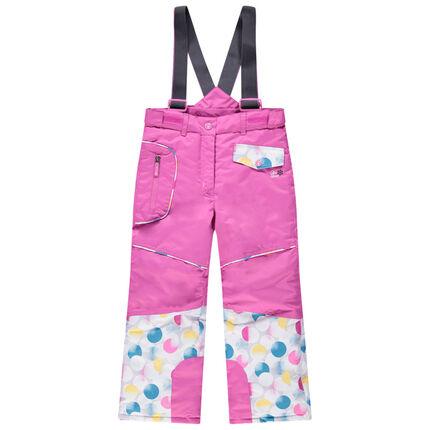Ροζ παντελόνι του σκι με αφαιρούμενες τιράντες και τσέπες