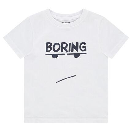 Κοντομάνικη μπλούζα ζέρσεϊ με τυπωμένο μήνυμα και πρόσωπο