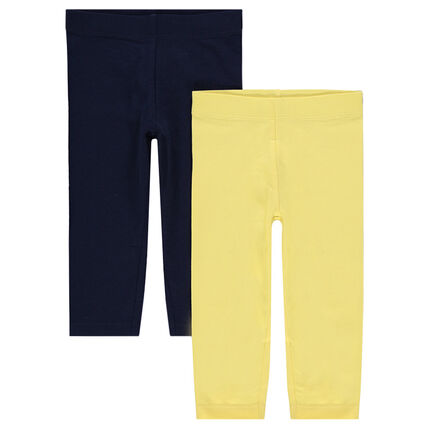 Παιδικά - Σετ με 2 μονόχρωμα παντελόνια-κολάν με τυπωμένο λογότυπο