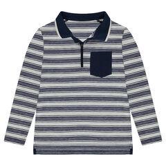 Παιδικά - Μακρυμάνικο πόλο με ρίγες σε όλη την επιφάνεια, τσέπη και λαιμόκοψη με φερμουάρ