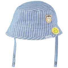 Βαμβακερό καπελάκι με κάθετες ρίγες και απλικέ σήματα Smiley