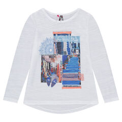 Μακρυμάνικη μπλούζα από ζέρσεϊ slub με τυπωμένα τοπία