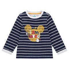 Μακρυμάνικη μπλούζα με ρίγες σε αντίθεση με τυπωμένo Mickey της ©Disney
