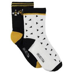 Σετ 2 ζευγάρια κάλτσες, μονόχρωμες με μοτίβο / εμπριμέ