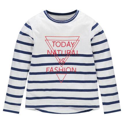 Junior - Tee-shirt manches longues rayé avec print et inscription sequins