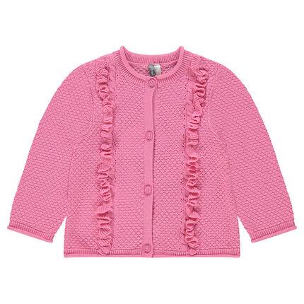 Gilet en tricot fantaisie avec cygne en jacquard et volants