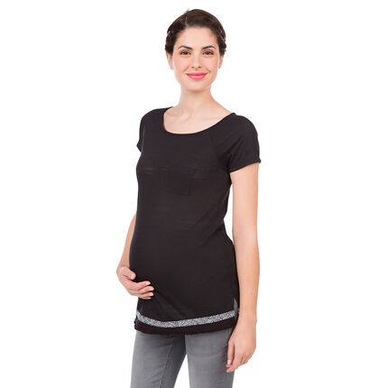 Tee-shirt manches courtes de grossesse avec biais fantaisie