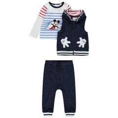 Jogging 3 pièces avec t-shirt rayé print Mickey Disney